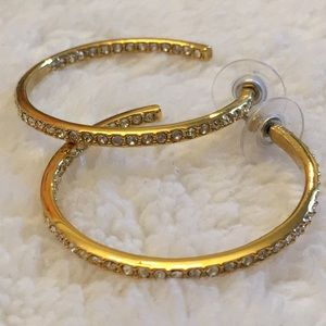 Givenchy gold tone rhinestone hoop earrings